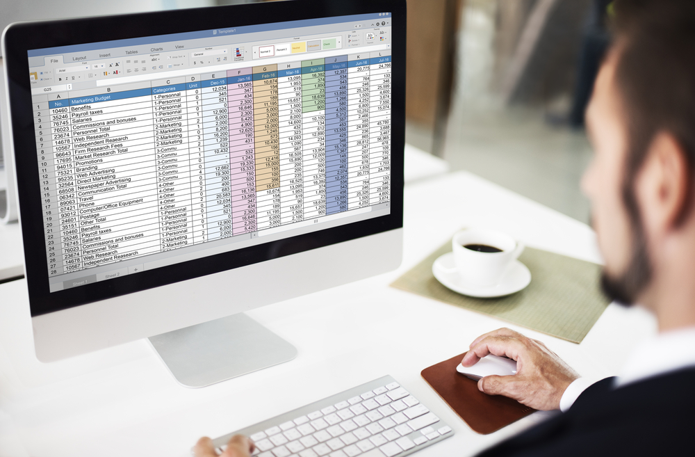 man looks at a budget spreadsheet